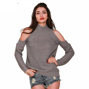 Simplee Apparel turtleneck off shoulder knitted sweater women autumn Fashion tricot pullover jumpers Pull femme oversized capes