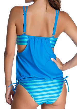 2016 New Fashion Women's Bikini Swimwear Striped Hollow Bowtie Deep Neck Ruffled Swimsuit Two Piece Tankini Bathing Suit