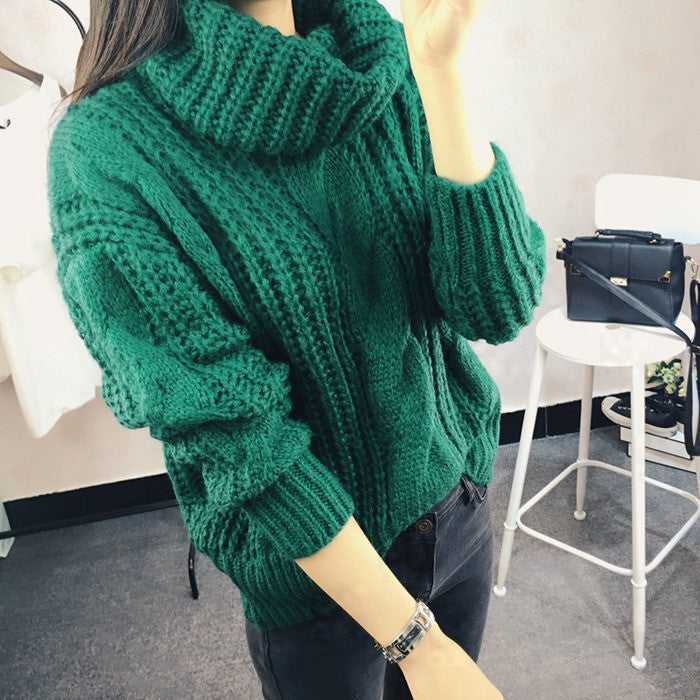 Fashion Women's New Autumn winter Turtleneck sweater big size Hemp flowers pattern solid color Loose Thick Warm knitwear sweater