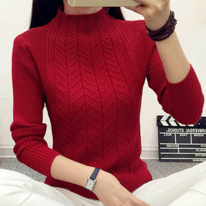 Women Fashion 2016 spring sweaters basic turtleneck soft casual knitting winter Pullover