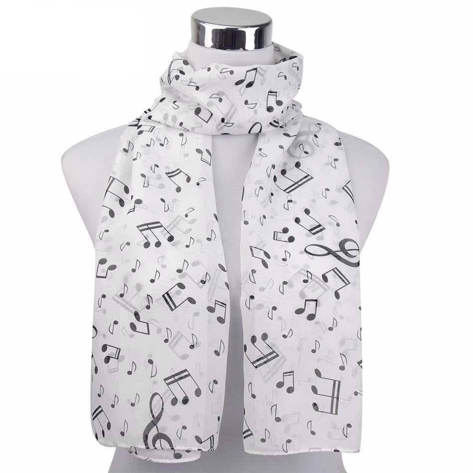 1 PC 50*160cm  New Arrival Korean Style Music Note Print Lady Chiffon Silk Summer scarves - Gifts Leads