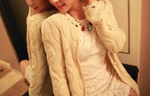 2016 Spring New Fashion Women's Sweet  Faux Pearl Button Lace Collar Wave Cutout Cardigan