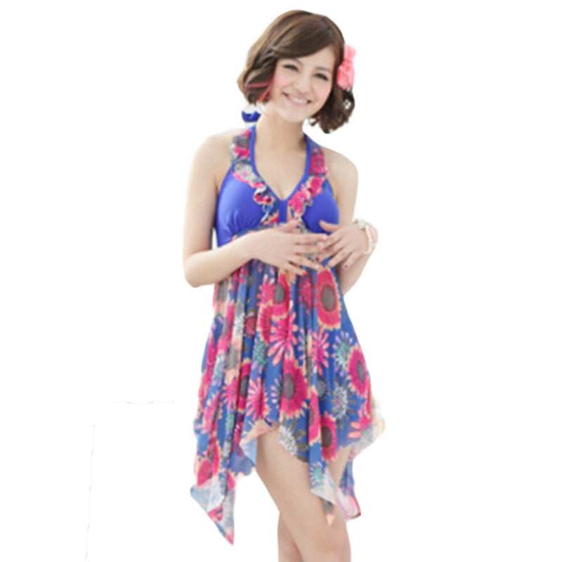 5XL Plus Size Women Swimsuits Cover Ups Swimwear Halter 2 Piece Set Beach wear Fashion Floral Swimwear Ropa De Bano Mujer