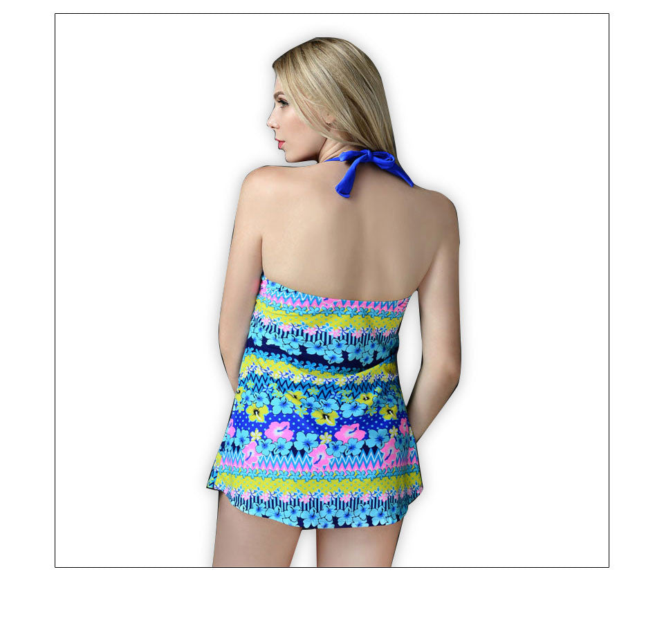 Floral Print Tankini Swimwear 6XL 2016 New Two Pieces Strappy Halter Beach Bathing Suit Women Large Size Tankinis Set