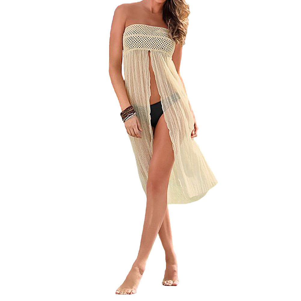 Sexy Women Crochet Cover Up Hollow out Meshy Beachwear Boho bikini cover up Dress Skirt Tropical Summer Beach beachwear Beige