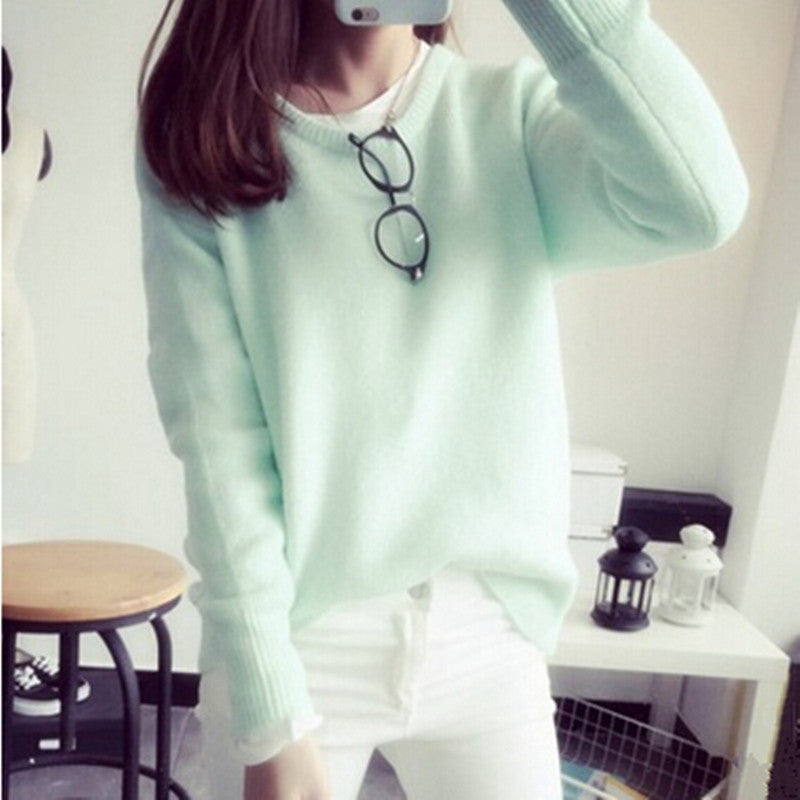 2016 New Hot Sale Women's Short style spring autumn round neck thick pullover sweaters woman thick knit sweater dresses 8 colors