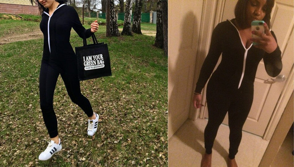 61a979c536c6 2017 Casual Women One Piece Outfits Jumpsuits Long Sleeve Bodycon Front  Zipper Hooded Long Pants Sexy