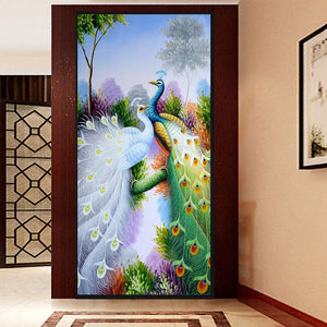 2016 Diamond embroidery Diy diamond Painting Cross Stitch Purple peacock picture 5D Needlework diamond Mosaic Home Decoration