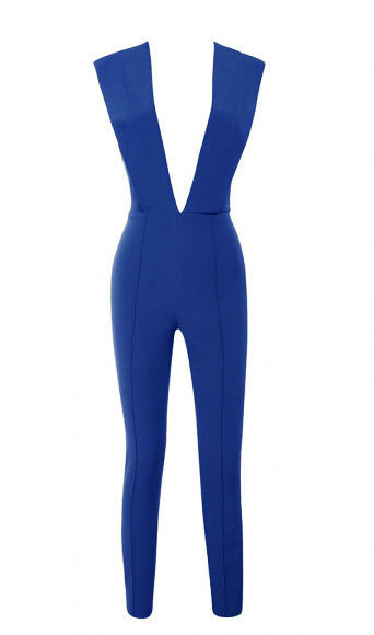 New Arrivals 2017 Gray Deep v Fitted Sexy Bodycon Jumpsuit Nightclub Women Blue Burgunday Rosy 10 Colors Available