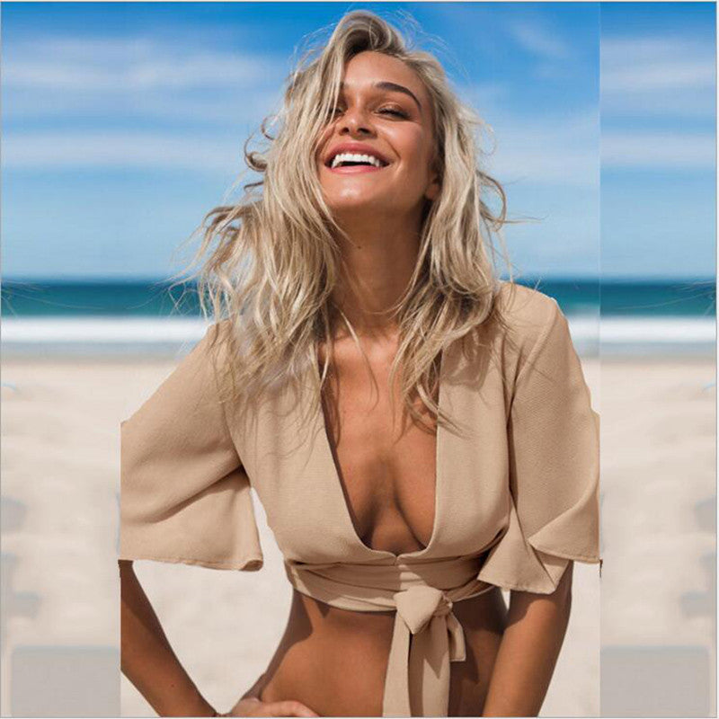 NEW Arrival Deep V Neck Women Chiffon Bandage Swimsuit Cover Up Sexy Bikini Top Wholesale Swimsuit Tops Women
