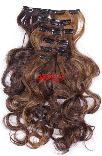 1Set Clip On Hair Extension 50cm 20inch 7pcs/set Natural Hairpieces Hair Style Wavy Curly Synthetic Clip In Hair Extensions - Gifts Leads