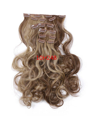 1Set Clip On Hair Extension 50cm 20inch 7pcs/set Natural Hairpieces Hair Style Wavy Curly Synthetic Clip In Hair Extensions