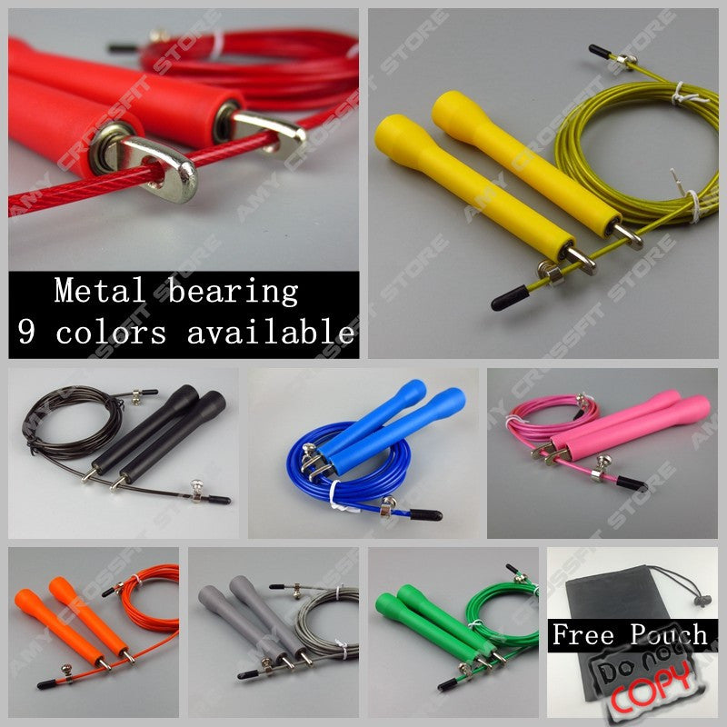 Free Pouch 3 Meters METAL BEARING!!  skipping rope / Speed Cable Jump Rope  Crossfit MMA Box home gym