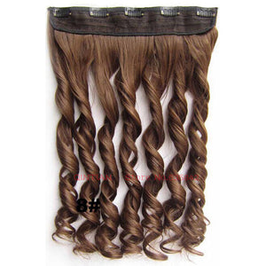 Curly Wavy  Synthetic Clip in Hair Extensions 24inches 60cm 120grams 20Colors Heat Resistant Fiber 5Clips Clip On Hairpiece