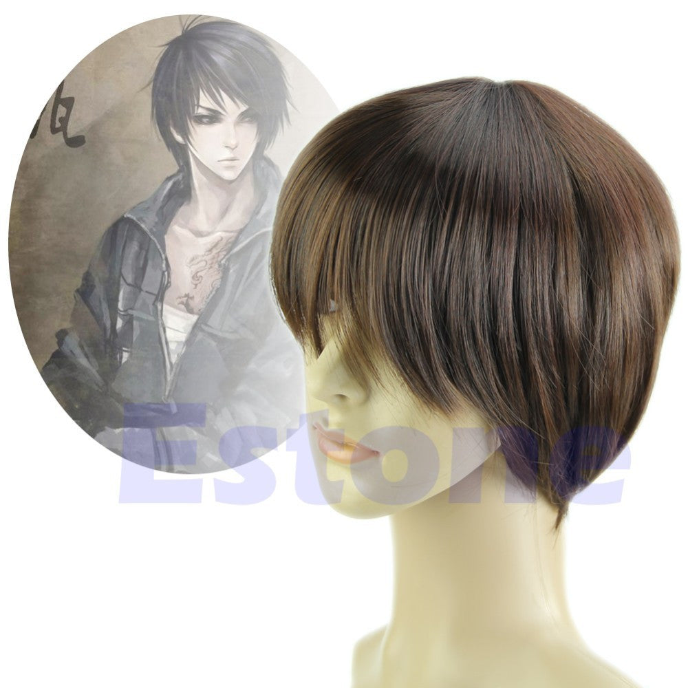 1PC  Short Straight Men Cosplay Party Costume Hair Full Wig Black/Brown - Gifts Leads