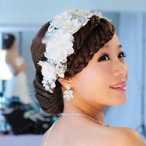 Trendy Adjustable Rhinestone Pearl Lace Flower Bridal Hair Head Band Headpiece Weddings Proms Pageant Gift For Women Girls