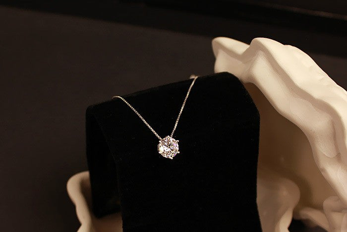 925 Sterling Silver Jewelry  AAA Zircon CZ Diamond Six Claw Maxi Necklace Necklaces & Pendants For Women