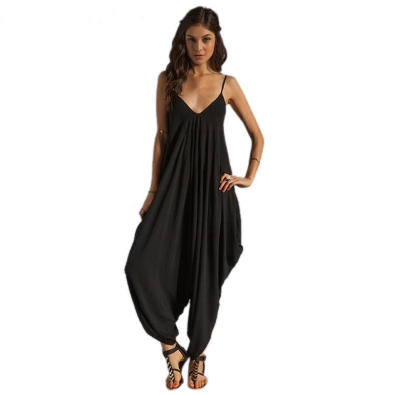 2017 Summer Women's Harem Romper Jumpsuit Coveralls Playsuit with Spaghetti Strap and Deep V-Neck Plus Size