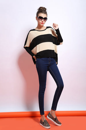 M-3XL Plus Size Spring Autumn Batwing Sleeve Striped Knitted Pullover Sweater Women Loose jumper poncho sudaderas