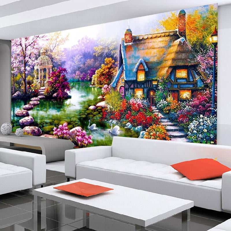 DIY 5D Diamond mosaic Landscapes Garden lodge Painting Cross Stitch Kits Diamonds Embroidery Home Decoration Free shipping