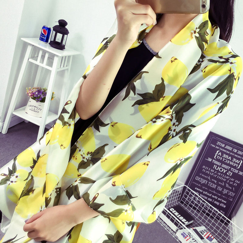 Luxury Brand Women Lemon Scarf  Cute Oversize Pure Silk Scarves and Bandana Female Foulard Big Long Shawl Fashion Brand New