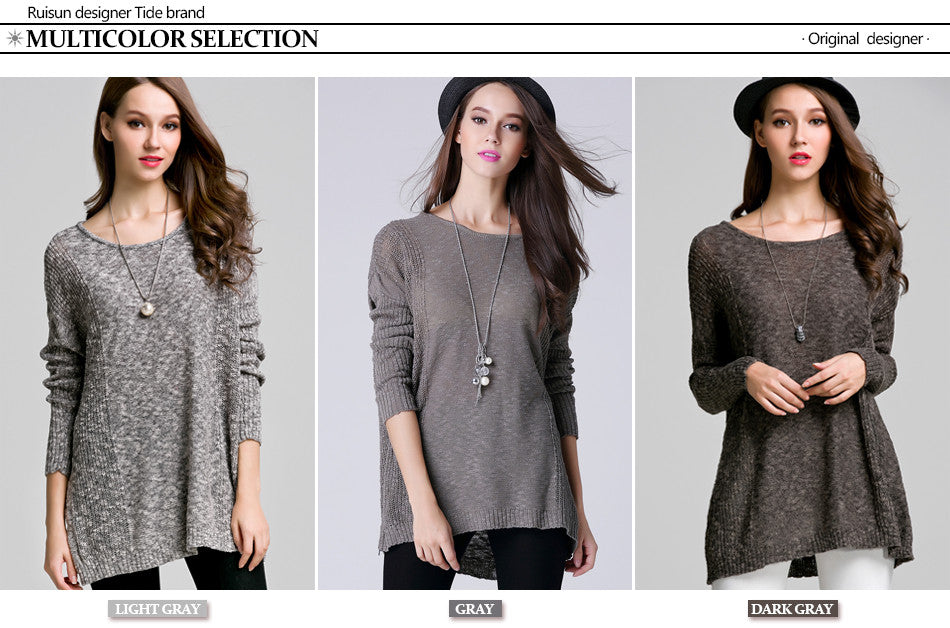Batwing Sweater Pullover Women Thin Knitted Tunic Women's Long Sleeve Jumper Loose Sweater For Women Pull Long Femme