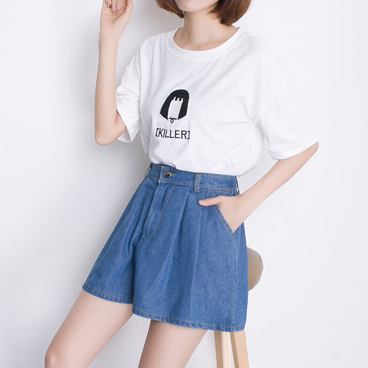 Women Shorts Summer Beach Denim Shorts women jeans shorts high waisted denim shorts plus size wide leg loose blue S-XXL/3XL