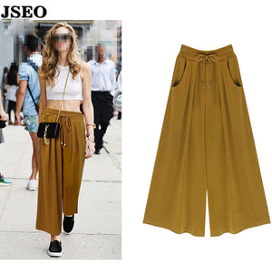 Women's Summer Harem Pants Casual Loose Cotton Blended Pleated Pockets Solid Elastic Waist Wide Leg Pants Plus Size