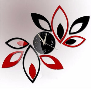 2016  New clock on wall home decor multicolor leaveAcrylic hot sale s mirrored design,3d watch living room,unique gifts