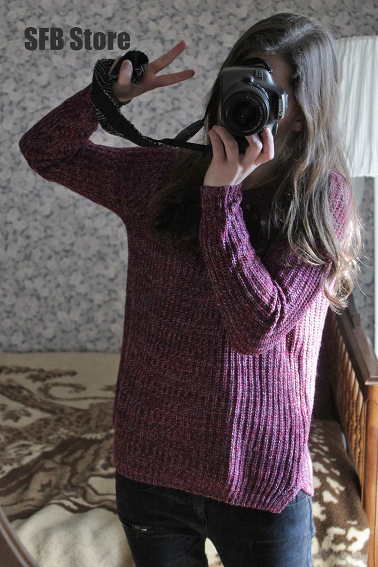Spring Autumn Women Mixed Color Wool Plus Size Oversized Loose Knitted Pullover Jumper Sweater O-Neck Long Sleeve Fashion Dress