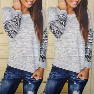 New Fashion Women's Pullover Sweater Lady O-neck Geometric Print Loose Pullover Shirt Long Sleeve Thin Sweater