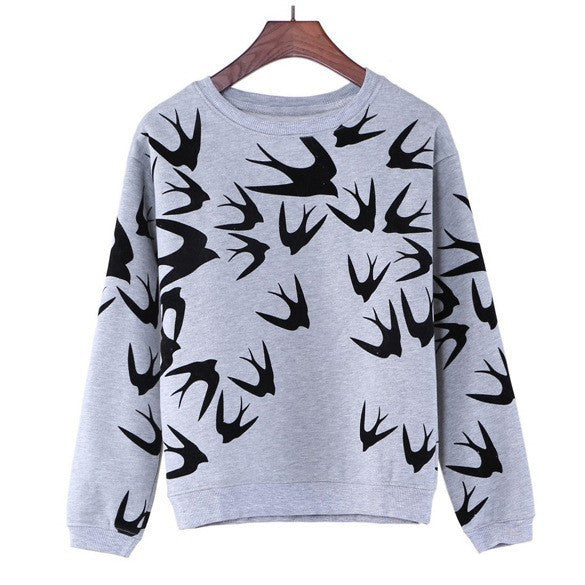 Women Casual Grey Crewneck Long Sleeve 3D Swallow Pullover Sweater M L XL