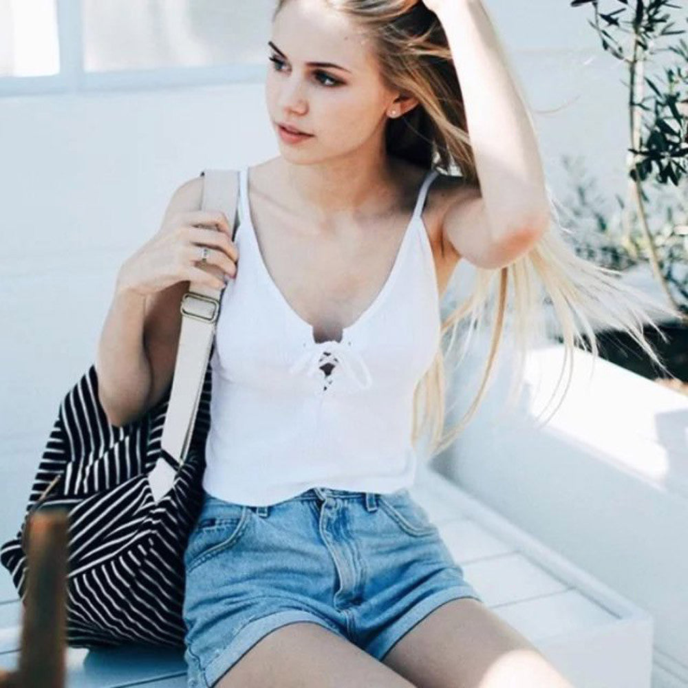 Hot Slae women Harajuku front cross bandage strappy bustier crop top tank bralette brandy melville Camis Good-looking