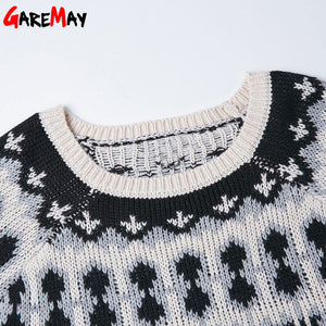 Pattern Pullover Warm Women Cute Korean Sweater Retro 2016 Tops Fashion Loose O Neck Knitted Sweater Short For Women