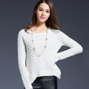 Spring 2016 Women Sweater And Pullover Pull Femme Irregular Hem Trendy Knitted Sweater Short Solid Sweater For Women