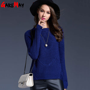 Ladies Pullover Sweaters 2016 Women Knitting Outwear Raglan Sleeve Warm O Neck Trui Rood For Women Knitwear Holes