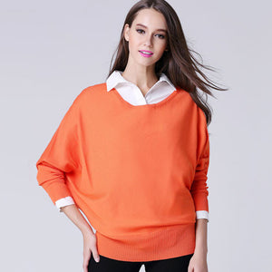 Off Shoulder Sweater 2016 Pullover Women Loose Batwing Sleeve Sweater Spring Knitted Jumper Tops Outwear For Women