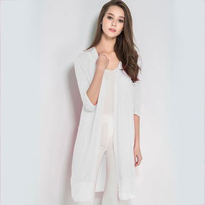 Women Summer Cardigan Knitted Chiffon Blouse Shirt Long Kimono Plus Size Crochet Poncho White Long Kimono Thin Tops