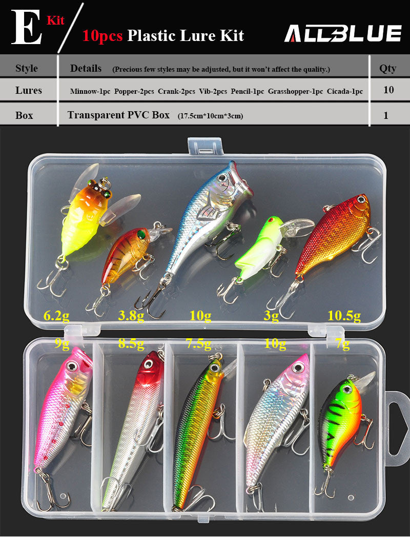 Fishing Lure  Minnow/Popper/Wobbler Spoon Metal Lure Soft Bait Fishing Lure Kit Isca Artificial Mixed Color/Style/Weight