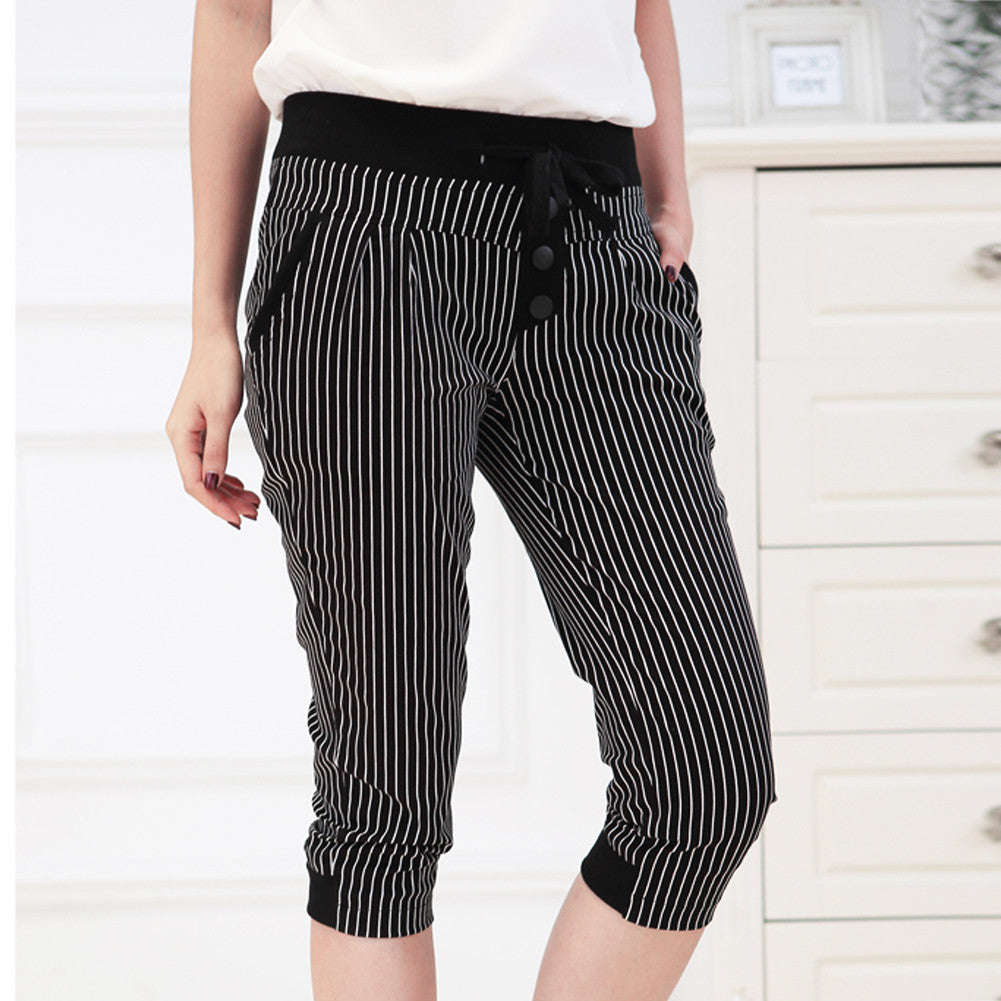 Women's Capris Plus Size S-2XL Summer Women's Pants Slim Striped Plaid  Leggings Casual Harem Pants cal?a feminina