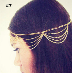 2016 New Beach Multi Layer Metal Gold Plated Head Chain Hair Jewelry Tassel Pearl Leaves Bindi hair accesories Boho Headband