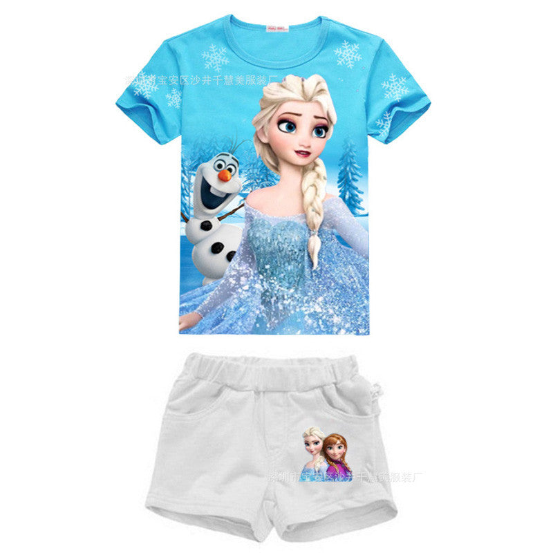 2016 New High Quality Summer Baby Girls Elsa Anna Clothes Sports Suit Short Sleeve T-shirt +Shorts Kids Childrens Clothing Sets