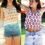 21 Colors Summer Casual Women Crop Emoji Tank Tops Vest Sleeveless Cartoon Beach Tanks T-Shirt