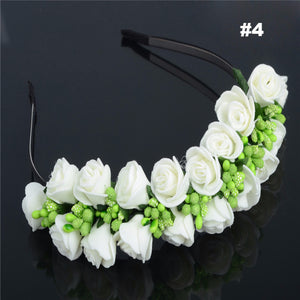 Bride Floral Crown Rose Flower Headband Hair Garland Headdress Wedding Party Hair Accessories Hairbands Boho Prom Head Wrap