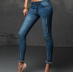 New Thin Lady Ripped Jeans Burr Small Feet Package Hip Pencil Pants Sky Blue S~4XL Women's Jeans 2016 Summer Fashion Demim Pants
