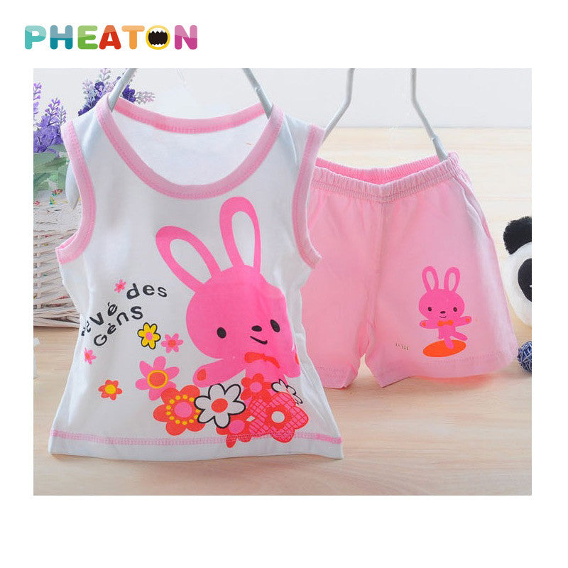 Cartoon Baby Boy Summer Clothes Sleeveless Vest + Shorts Toddler Boys Clothing Soft Cotton Toddler Girl Clothing Ensemble Fille