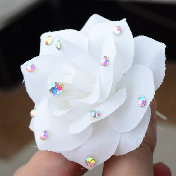 5PCS Wedding Bridal Hairpin White Rose Flower Crystal Rhinestone Hair Pin Beauty Hair Clip Women Accessory Jewelry Free Shipping