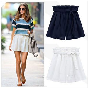 High Waist Black White Women Skirt Shorts Summer 2016 Fashion Womens Bow Belt Chiffon Wide Leg Short HotPants Plus Size 5XL