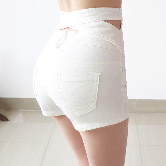 Hollow Out Black Skinny High Waist Shorts 2016 Summer New Women White Slim Sexy Denim Shorts Plus Size Short Jeans feminino