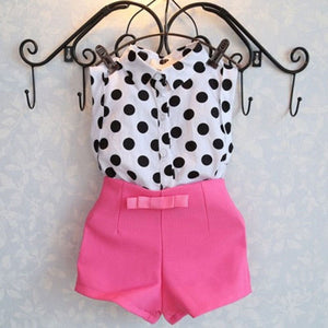 New Summer girls clothing sets girl baby clothes polka dot coat + pink pants baby clothing
